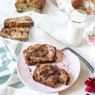 Banana Bread with Whipped Mocha Mascarpone by Sugar & Cloth, an award winning DIY, recipes, and home decor blog.