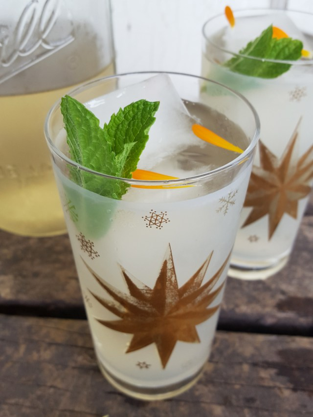 Sugar and Pith, two vintage glasses with calendula and mint iced tea in them, garnished with sprig of mint and calendula petals
