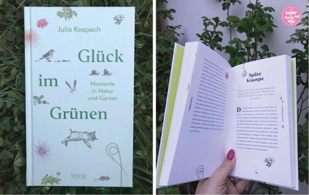 Glück-im-Grünen-Buch in der grünen Wiese und aufgeklappte Innenseiten