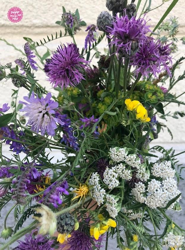 Wiesenblumenstrauß mit gelbem Hornklee, weißer Schafgarbe, Rotklee und violetter Flockenblume in der Hand gehalten