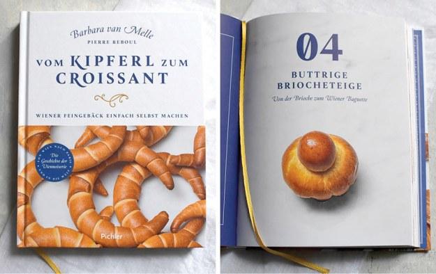 """Buchumschlag mit mürben Kipferl und eine Innenseite mit Brioche des Buches von Barbara van Melle """"Vom Kipfer zum Croissant"""". Der Buchtitel in blau auf weißem Untergrund, im Buch ein goldgelbes Lesebändchen"""