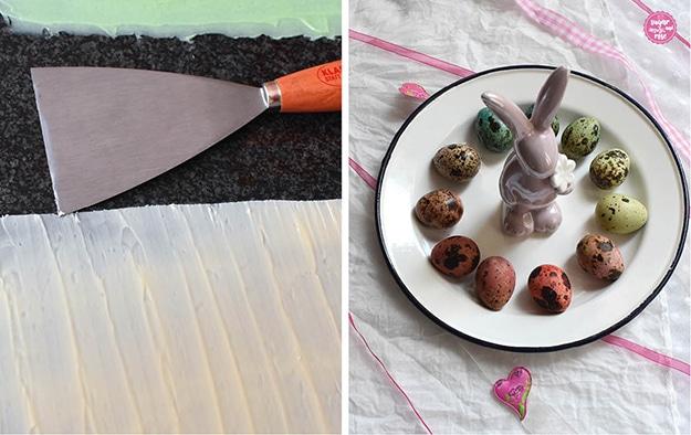 1. Weiße und hellgrüne Schokolade dünn auf Steinplatte aufgestrichen, daneben ein Metallspatel; 2. weißer Metallteller mit blauem Rand, darauf Wachteleier bunt gefärbt, in der Mitte ein fliederfarbener Porzellanosterhase