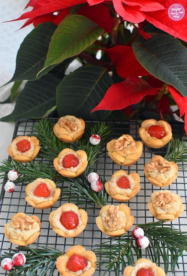 Im Vordergrund Cristrosen-Kekse auf einem Gitterrost, dahinter ein blühender roter Weihnachtsstern