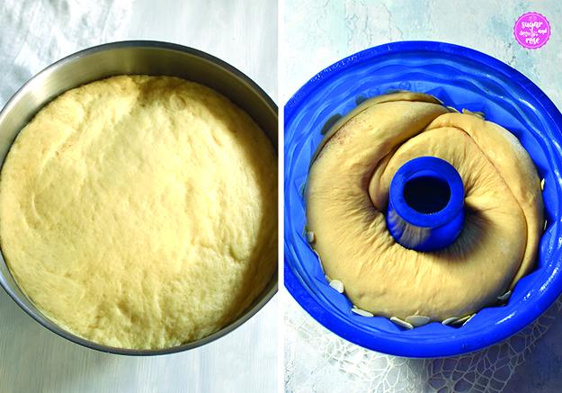 Zubereitungsbild: links eine Metallmixschüssel mit aufgegangenem Germteil, daneben eine blaue Silikon-Gugelhupfform mit bereits eingelegtem Germteigstrang