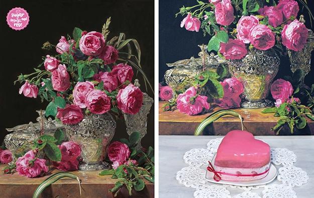 """Ferdinand Georg Waldmüllers Stillleben """"Rosen"""" und davor ein Punschkrapfenherz auf einem herzförmigen Porzellanteller, dekoriert mit rosa Schleife."""