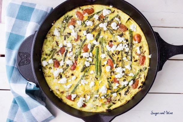 Aspargus Leek and Goat Cheese Frittata