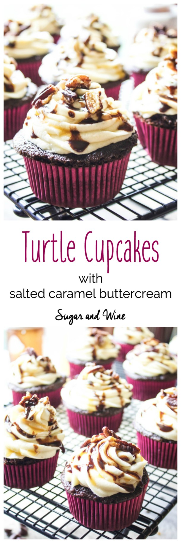 Turtle Cupcakes with Salted Caramel Buttercream | Sugar and Wine