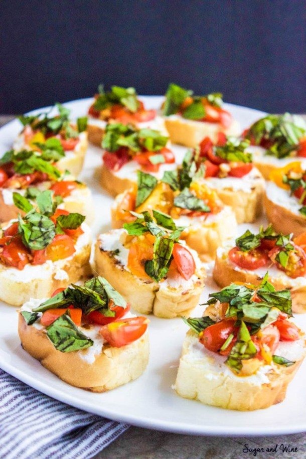 Garlic, Tomato and Basil Goat Cheese Crostini | Sugar and Wine