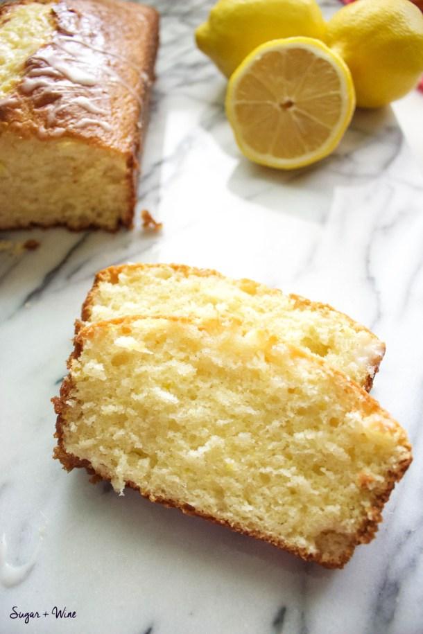 Lemon Bread with a Lavender Vanilla Glaze | Sugar and Wine