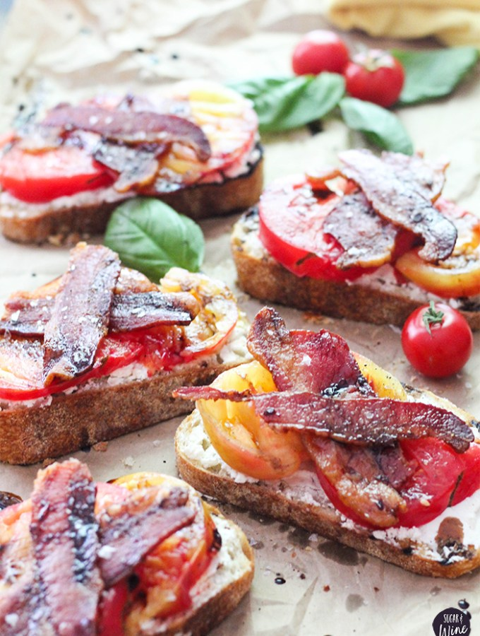 Open Faced Tomato Sandwich with Bacon and Balsamic Glaze | Sugar and Wine