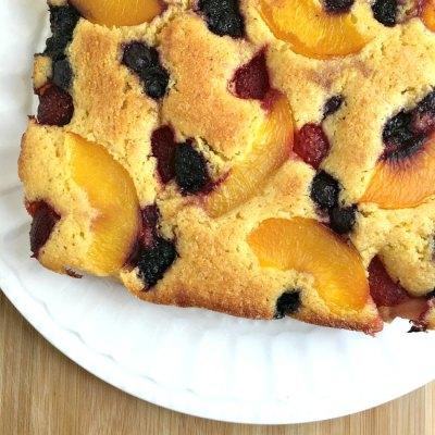 Peach Berry Cornmeal Sheet Cake Recipe