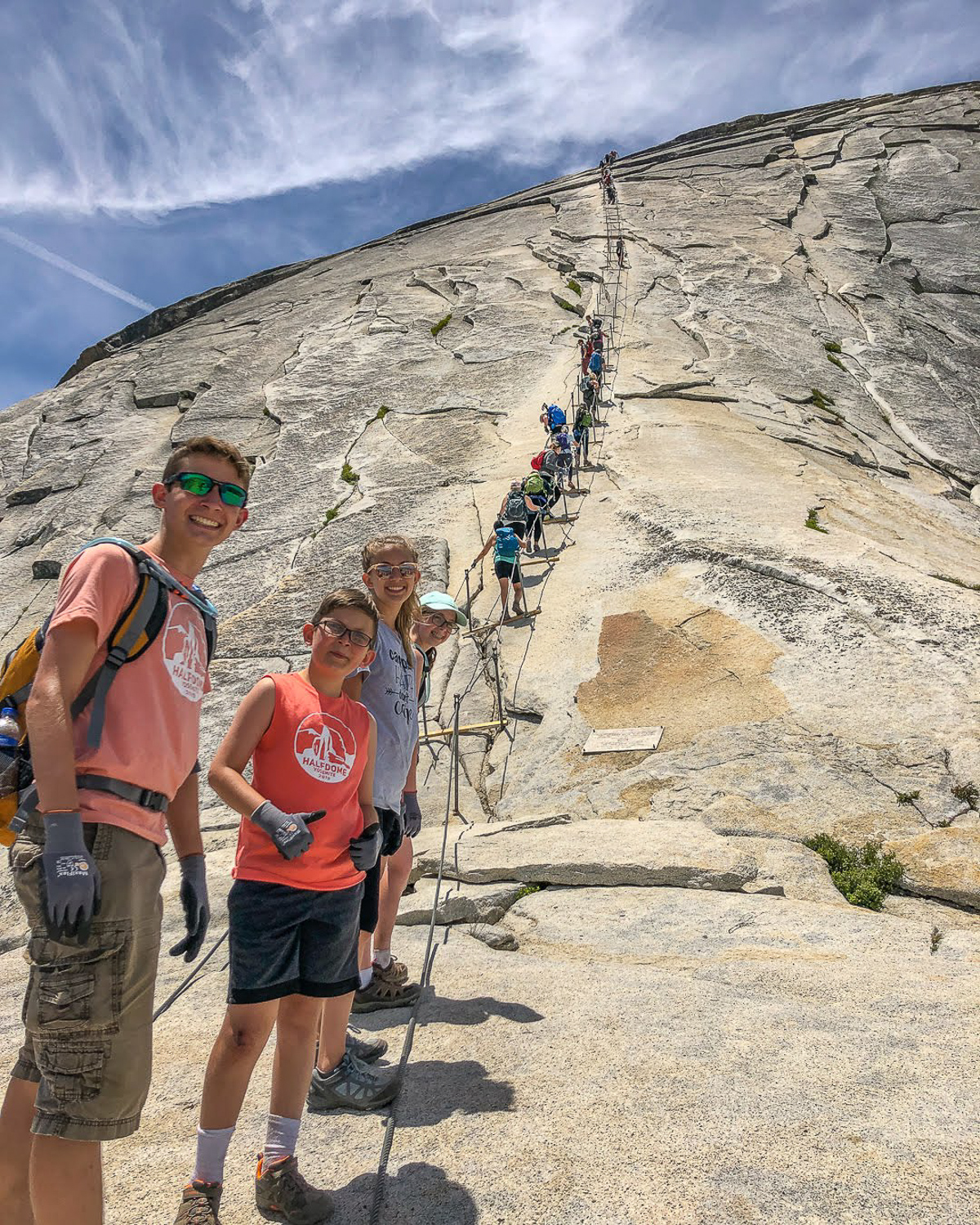 Half dome hike cables with kids 2