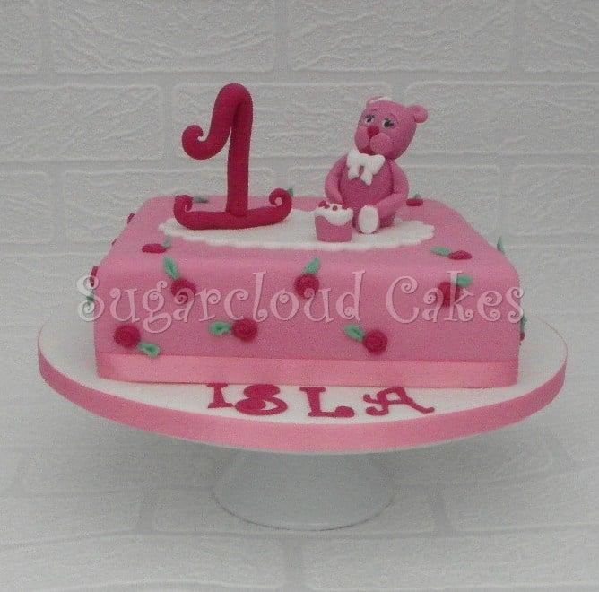 Pink Teddy Bear 1st Birthday Cake