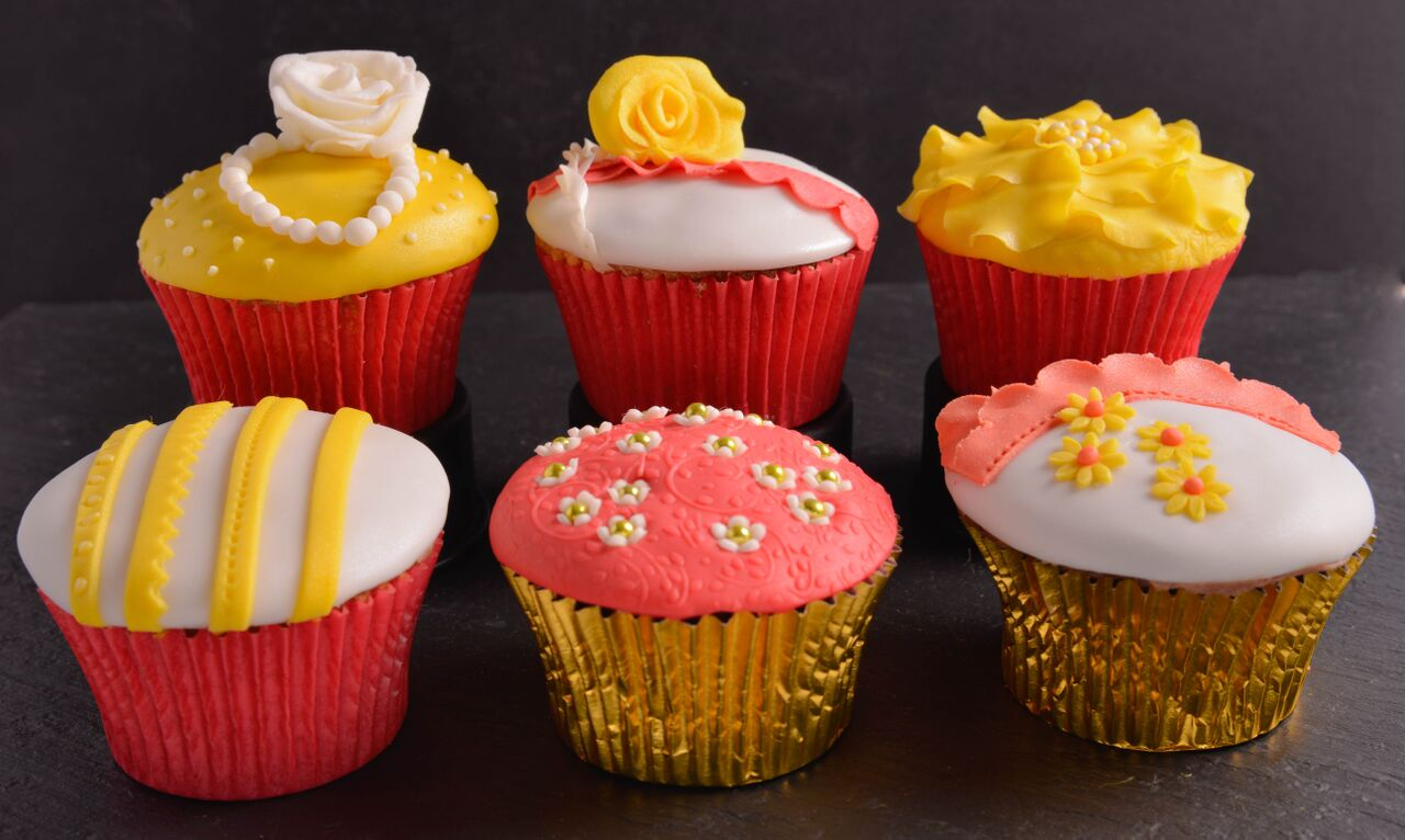 mixture red yellow cupcakes