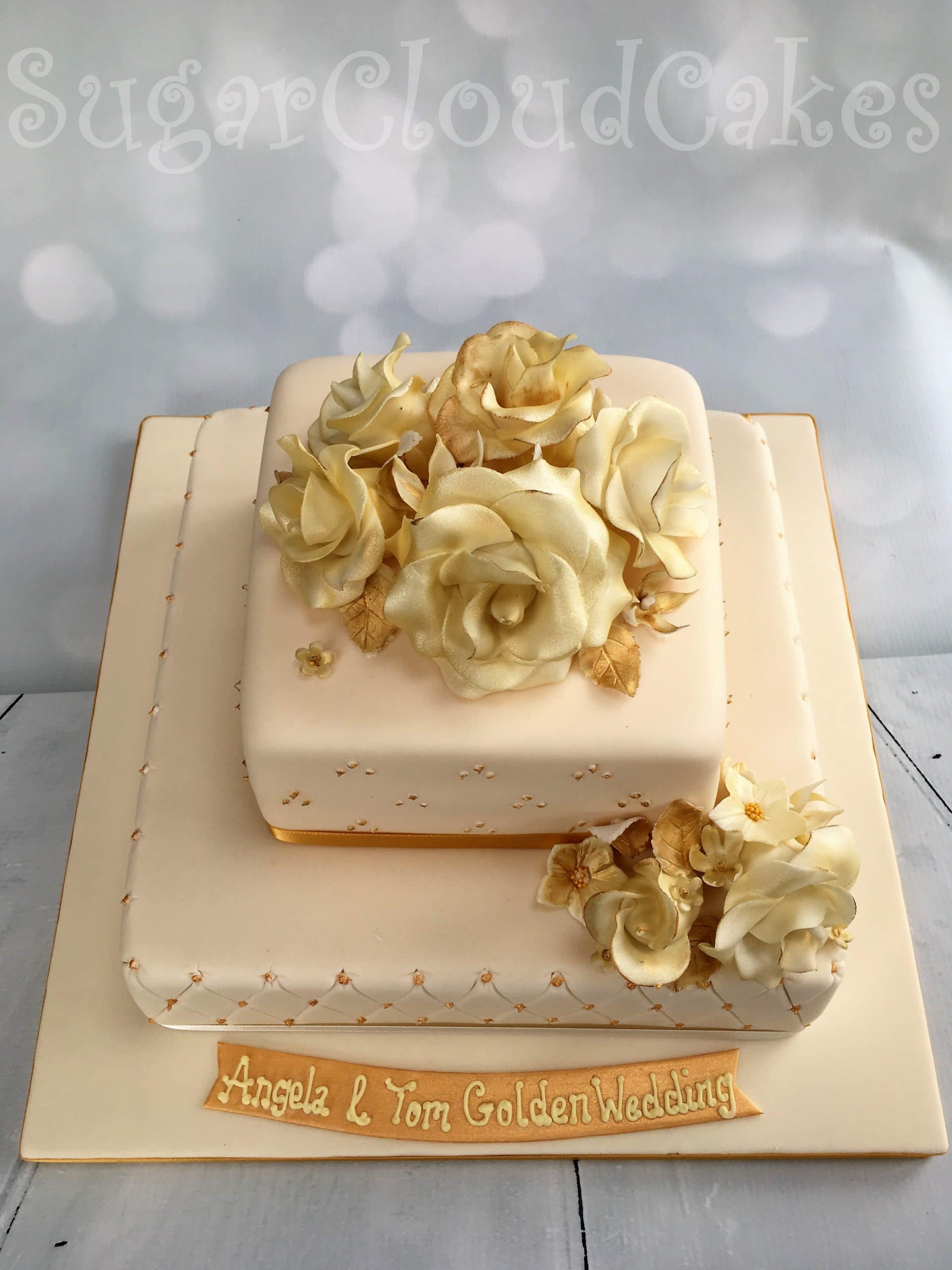 Golden wedding roses dairy and gluten free cake