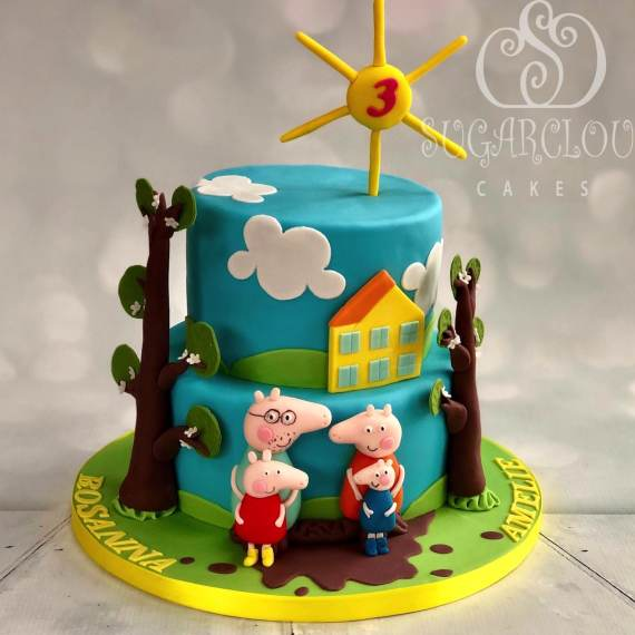 Joint 3rd birthday Peppa Pig Cake, Chester