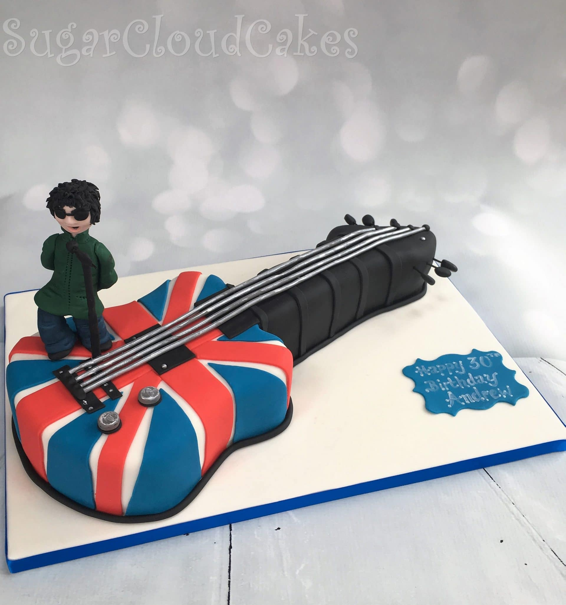Liam Gallaghers Union Jack Guitar 30th Birthday Cake