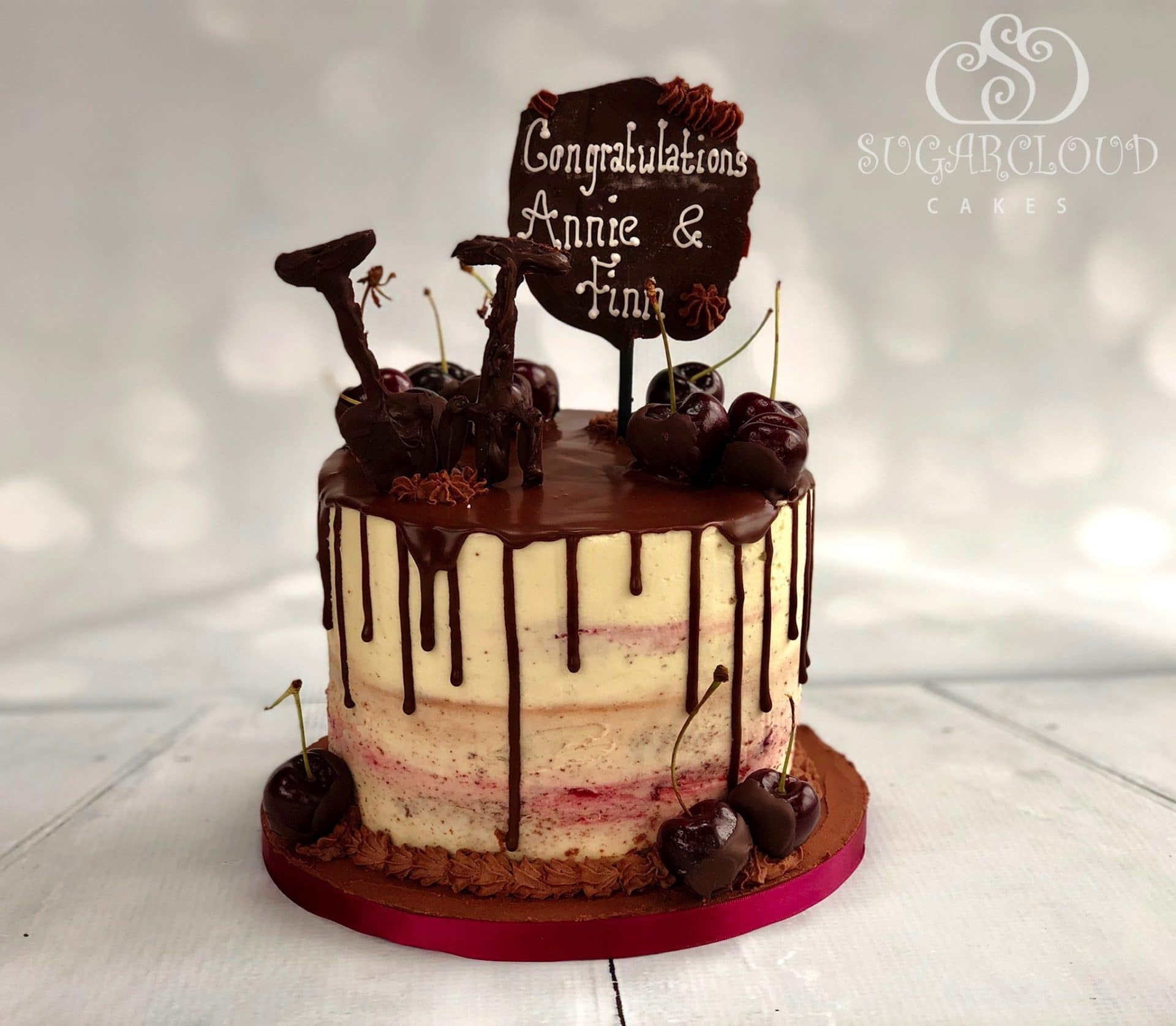 Black forest inspired cake with a chocolate drip
