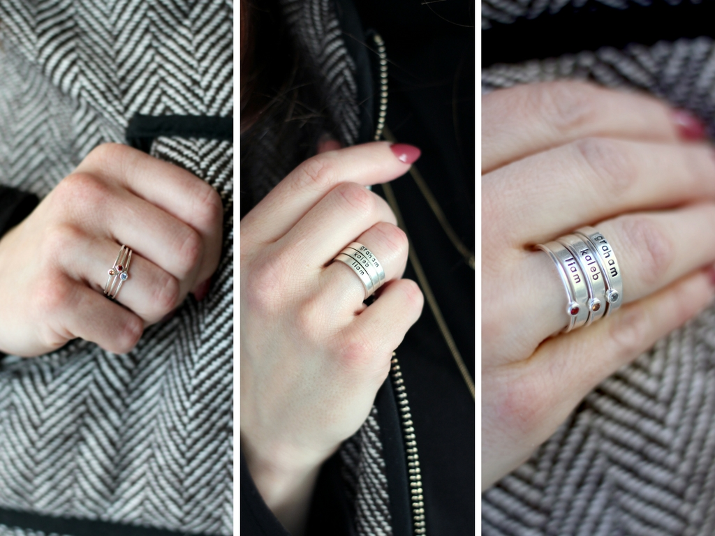 These mothers rings from Charmed Collections, can be worn 3 ways! Stacked name rings, Birthstone rings, or layered all together. find out more at sugarcoatedhousewife.com