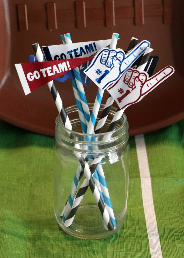 Football Party Straw Toppers made on the Cricut Maker. Visit Sugarcoatedhousewife.com