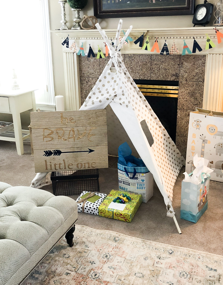 TeePee Baby Shower featured by Sugarcoated Housewife craft blogger Utah DIY Baby shower for a boy with a colorful teepee theme