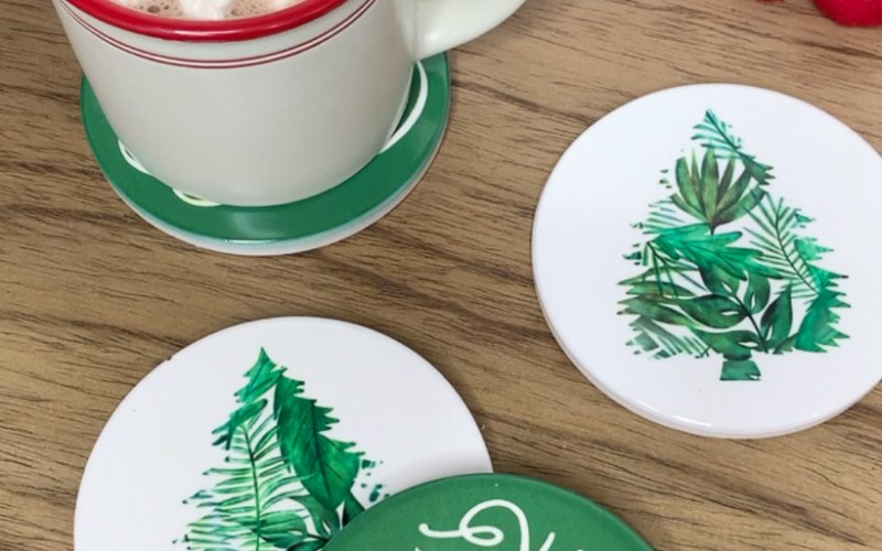 CHRISTMAS COASTERS USING CRICUT INFUSIBLE INK