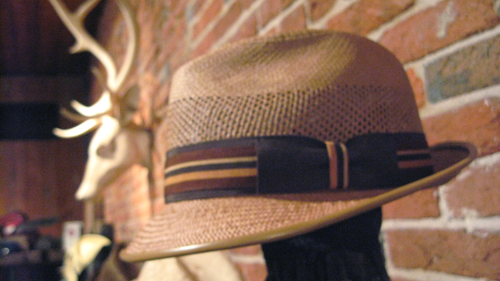 Hidalgo | Camel, Vented Panama Fedora with Camel Lambskin piping on brim. Trimmed with Brown Grosgrain with Stripe overlay.