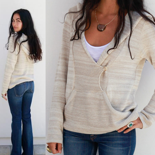 Goddis Felip hooded pullover sweater in Baja Cream