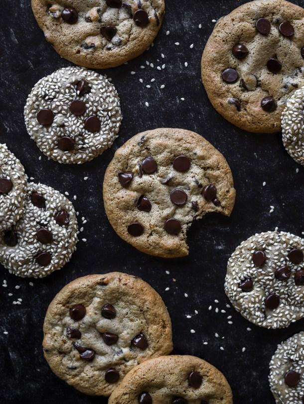Tahini Spelt Chocolate Chip Cookies