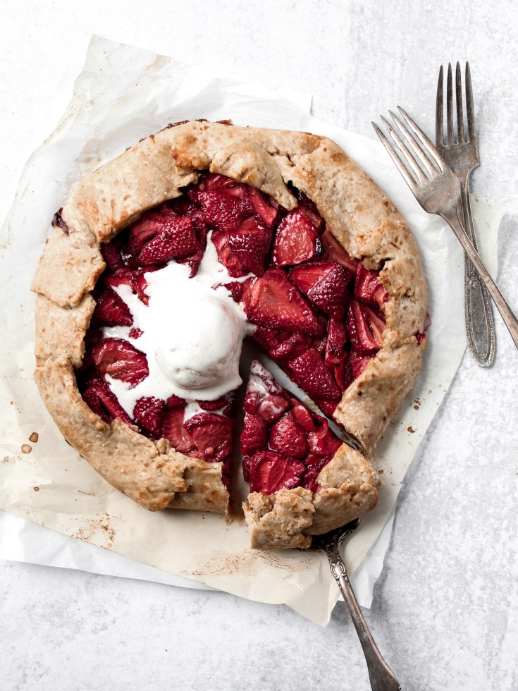 Strawberry Balsamic Galette with Coconut Oil Crust