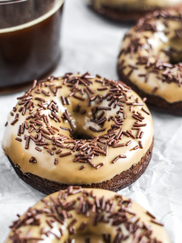 Chocolate Coffee Donuts with Coffee Icing