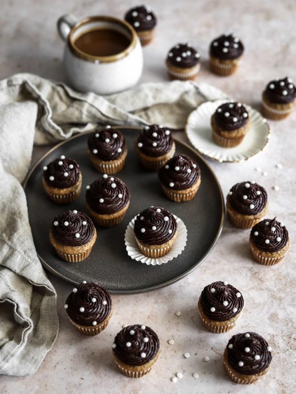 Mini Banana Cupcakes with Dark Chocolate Frosting