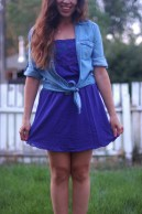 Purple strapless forever 21 dress and chambray tie shirt
