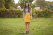 stripes, yellow, cardigan,grey,skirt