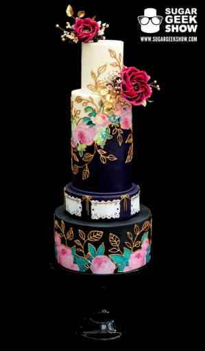 Elegant Wedding Cake Meets Mexican Culture Jewel Toned Mexican Wedding Cake