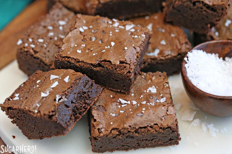 Salted Fudge Brownies - rich and fudgy brownies with big flakes of sea salt! | From SugarHero.com