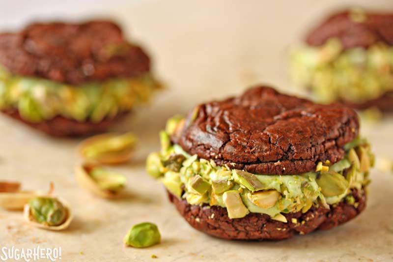 Chocolate-Pistachio Sandwich Cookies   From SugarHero.com
