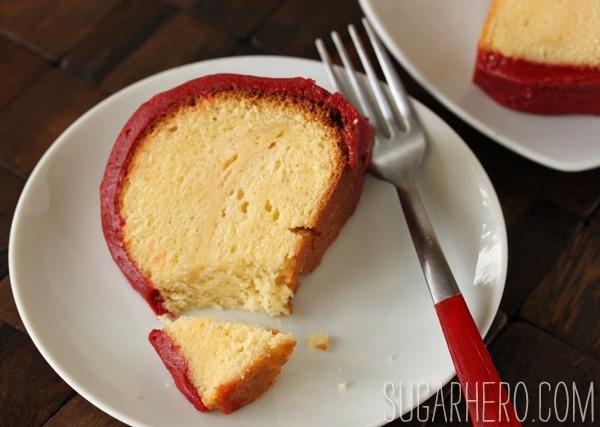 Cream Cheese Cake with Red Velvet Fudge Frosting   SugarHero.com