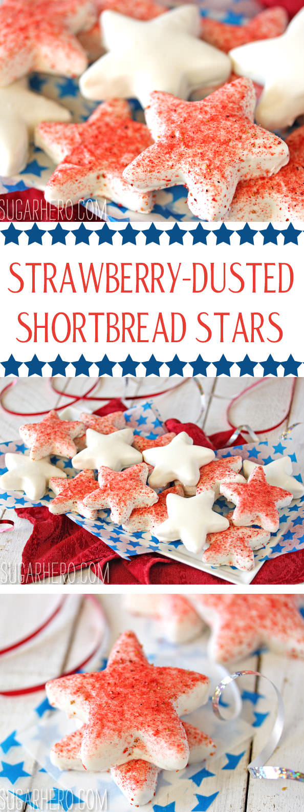 Strawberry-Dusted Shortbread Stars | From SugarHero.com
