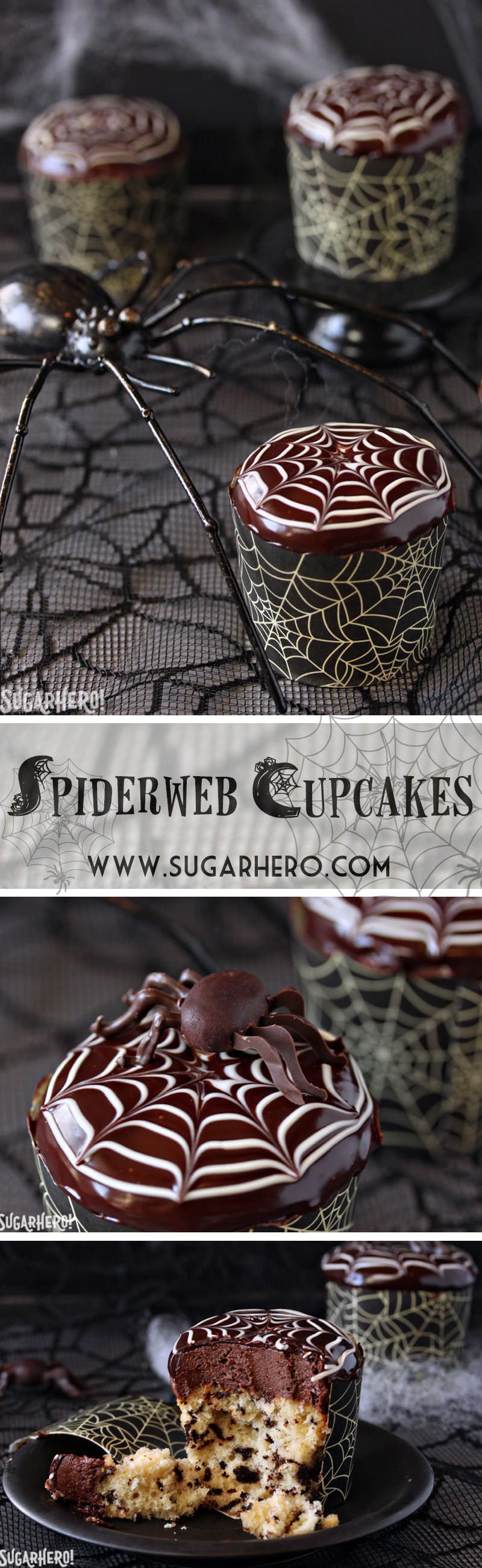 Spiderweb Cupcakes and Chocolate Spiders Recipe | From SugarHero.com