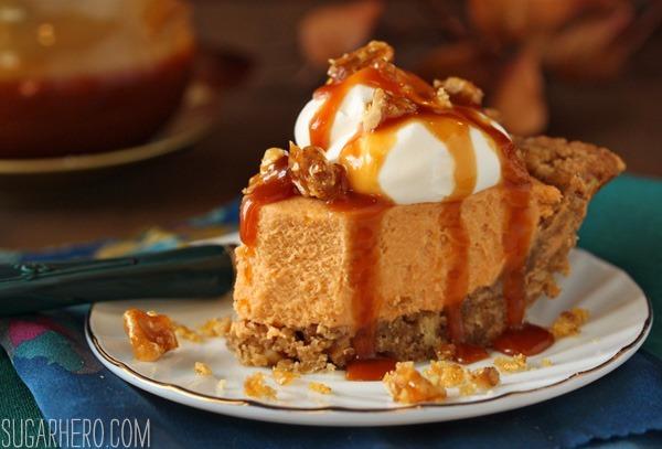 Oatmeal Walnut Butterscotch Pie | SugarHero.com
