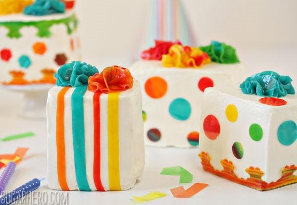 Birthday Present Mini Cakes | SugarHero.com