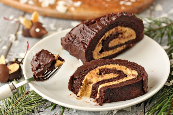 Peanut Butter Cup Yule Log | SugarHero.com