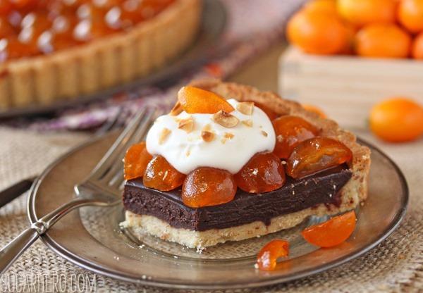 Chocolate Tart with Candied Kumquats | SugarHero.com