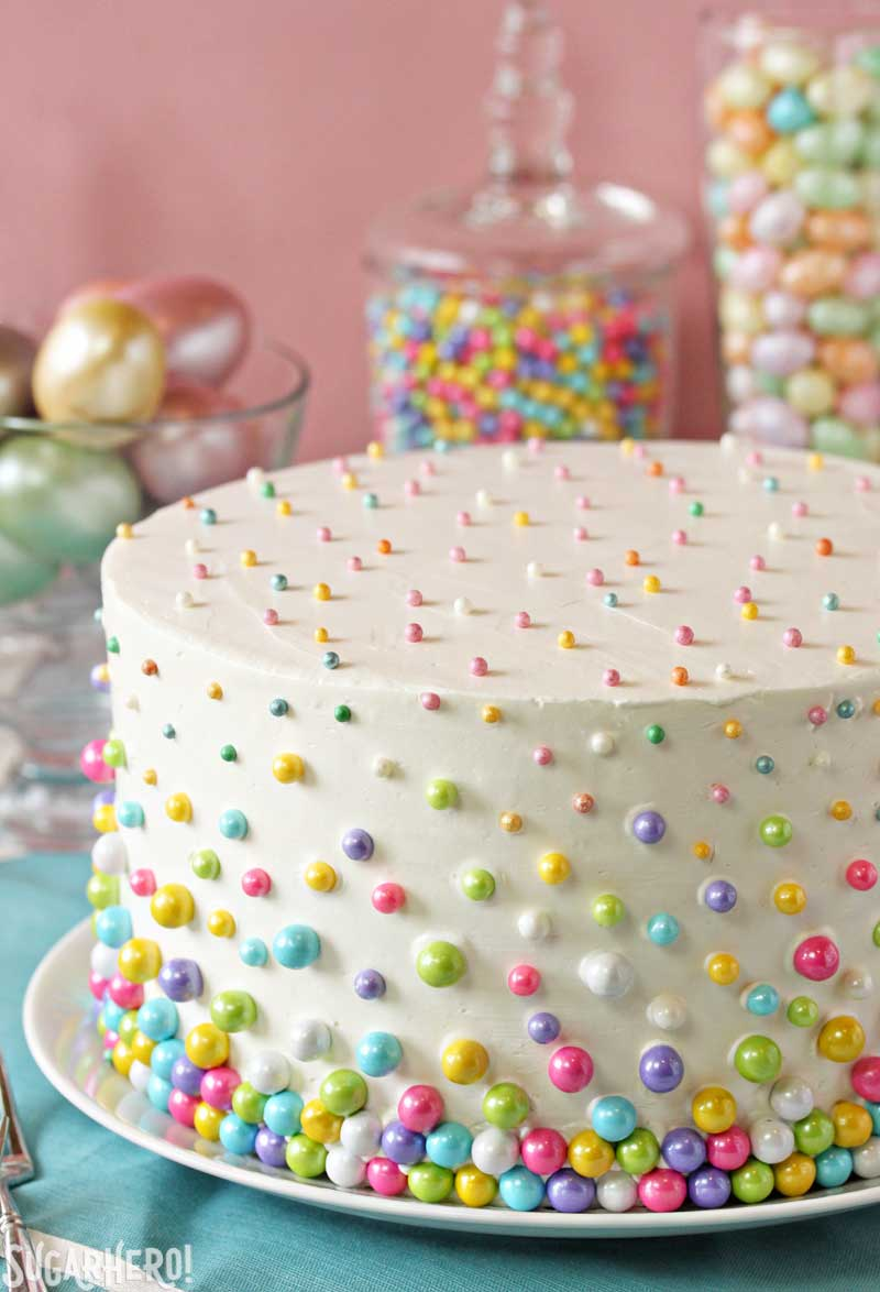Easter Polka Dot Cake - A picture displaying the polka dots on the outside of the cake.  | From SugarHero.com