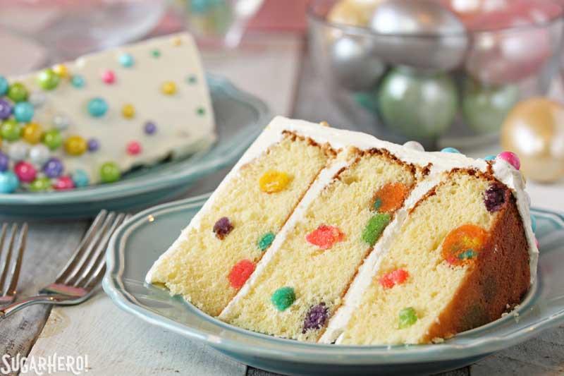 Easter Polka Dot Cake - A slice of polka dot cake.  | From SugarHero.com
