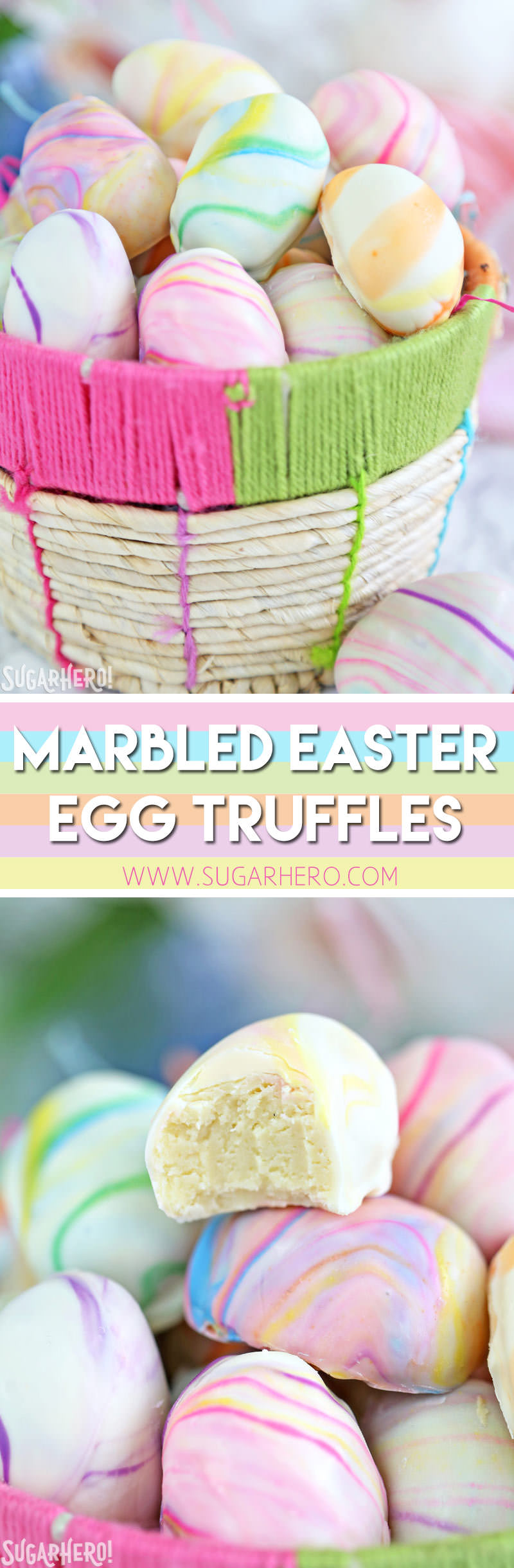 Marbled Easter Egg Truffles - homemade Easter candy! White chocolate truffles with a pretty pastel swirl | From SugarHero.com