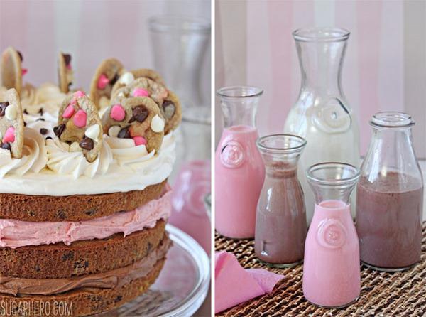 Neapolitan Chocolate Chip Cookie Cake | From SugarHero.com