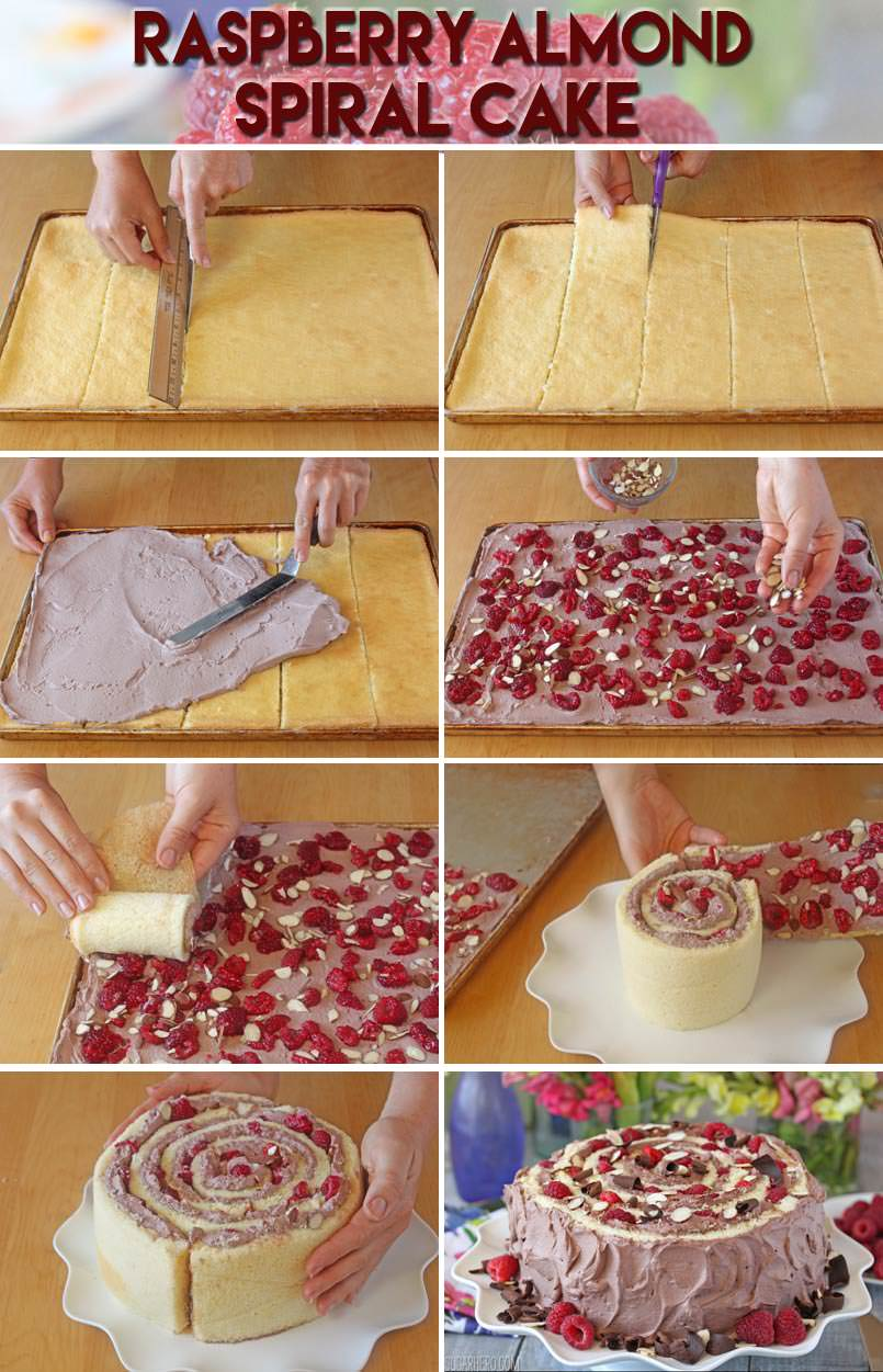 How to Make A Raspberry Almond Spiral Cake - almond cake, chocolate whipped cream, and berries, rolled into a spiral! | From SugarHero.com