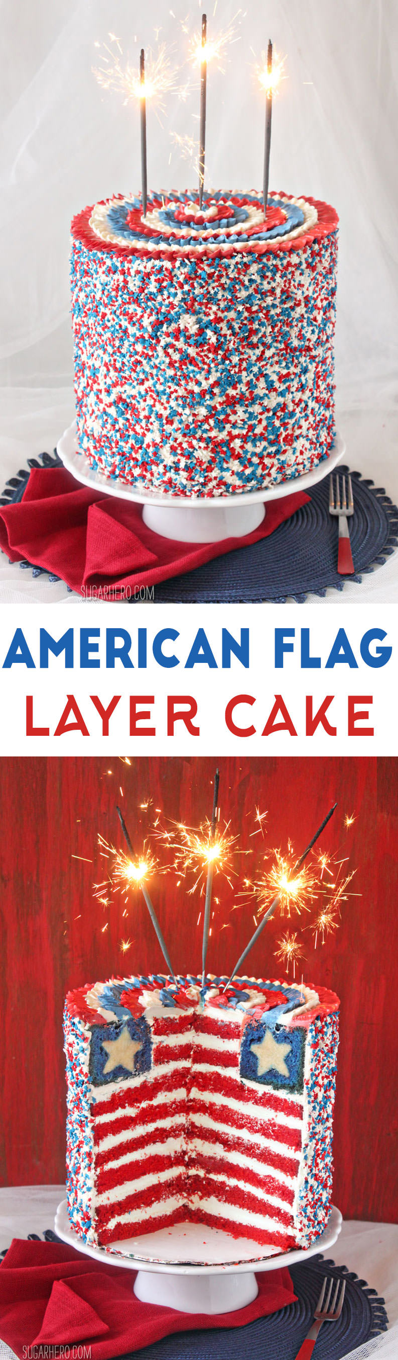 American Flag Layer Cake | From SugarHero.com